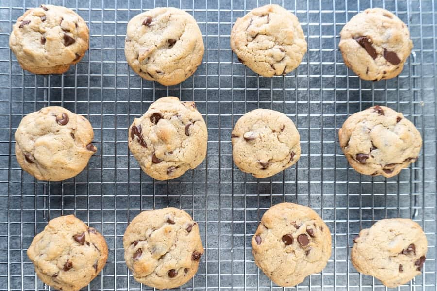 Chewy Chocolate Chip Cookie on wire cooling rack