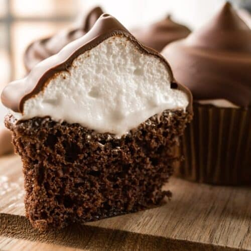 Marshmallow Frosting is a delicious and fun frosting for any cupcake- especially if you dip it in chocolate! #marshamllow #marshmallowfrosting #frosting #easy #atablefullofjoy #highhatcupcake #hihatcupcake #hardshell