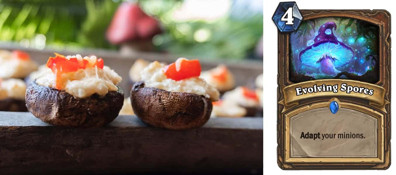 Stuffed Mushrooms, These stuffed mushrooms are easy and delicious! Stuffed with a creamy, cheesy filling you will want to eat these every day! #stuffedmushrooms #mushroom #partyfood #atablefullofjoy #hearthstone #wow #blizzard #gamer #hearthstonefood #creamcheese #keto #gf #glutenfree #lowcarb