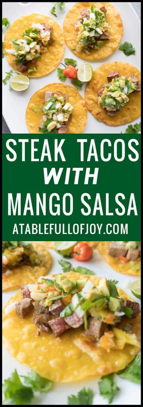 Steak Tacos with Mango Salsa