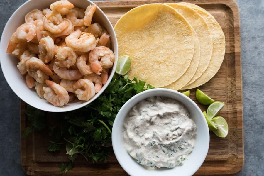 Grilled Shrimp Tacos Assemble ingredients