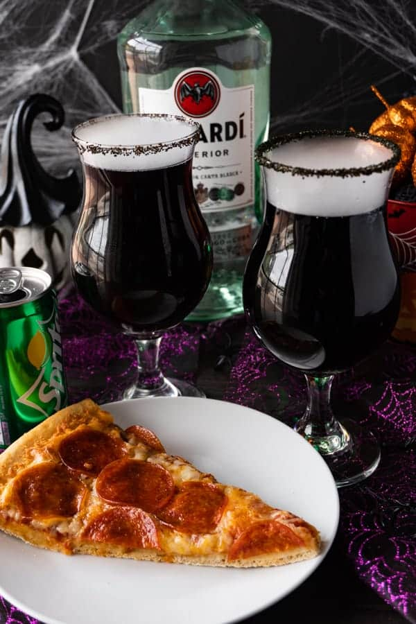 Msg 4 21+ #ad This Cauldron Cocktail is perfect for any Halloween get-together! It's a spooky, tasty, and an easy to make rum cocktail! #atablefullofjoy #shop #halloween #cocktail #spooky #pizza #bacardi #sprite #cocktails #trickyourtreat #collectivebias ad