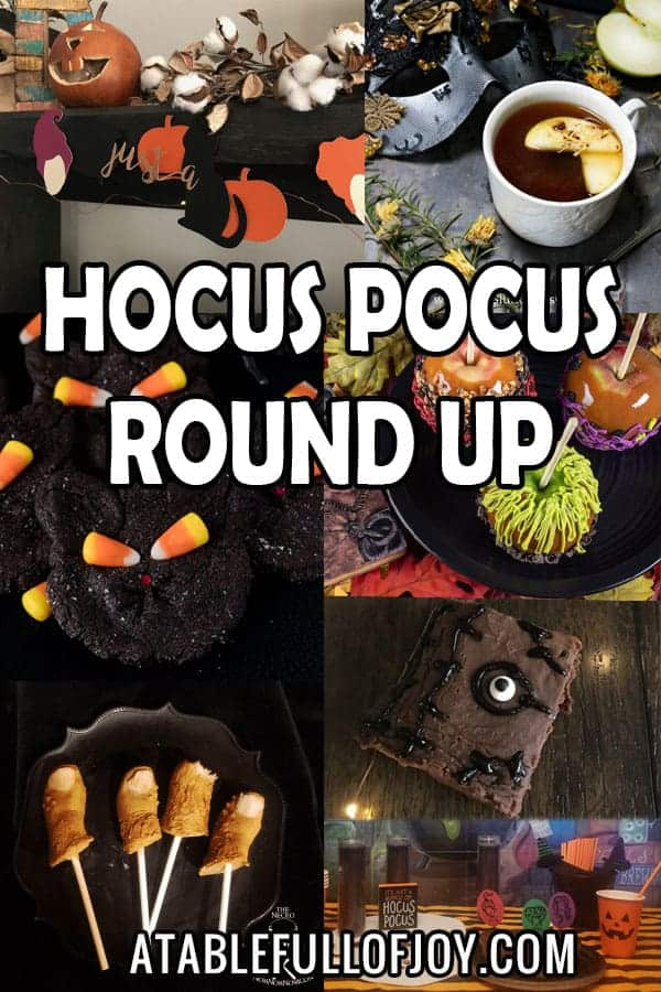 Hocus Pocus Round Up, Celebrate your favorite Hallowwen Movie with food and party ideas! #hocuspocus #halloween #movie #disney #atablefullofjoy #binx #cookies #brownies #caramelapples