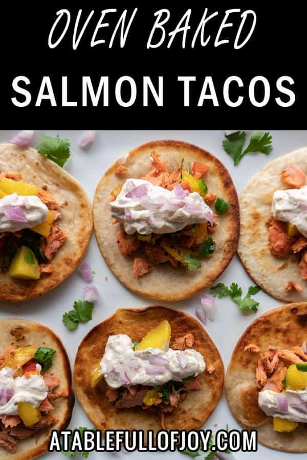 Salmon Tacos with a Chunky Mango Salsa, an easy and delicious salmon taco with a perfect salsa to match! #atablefullofjoy #salmon #mango#salsa #fish #taco #tacotuesday #cincodemayo #summer #dinner #grill
