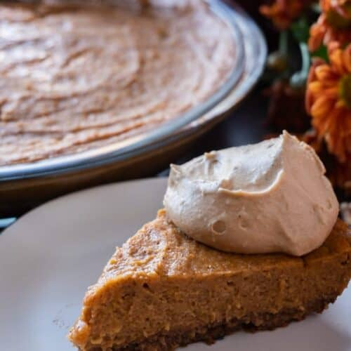A delicious gluten and dairy free easy sweet potato pie recipe! Easy to make and even easier to eat! #atablefullofjoy #glutenfree #gf #dairyfree #df #sweetpotato #pie #sweetpotatopie #thanksgiving