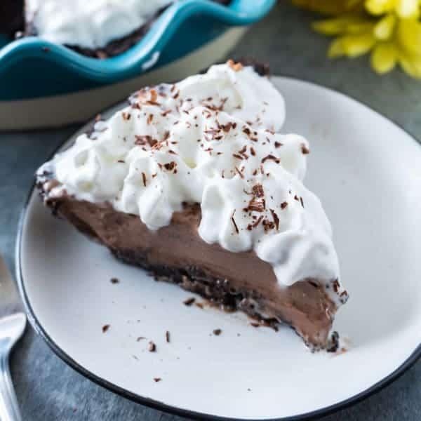 French Silk Pie, a classic chocolate cream pie that is delicious year-round! #atablefullofjoy #frenchsilkpie #chocolate #chocolatepie #pie #holidaydessert #dessert