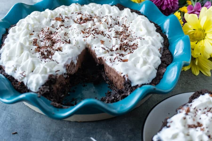 French Silk Pie, a classic chocolate cream pie that is delicious year-round! #atablefullofjoy #frenchsilkpie #chocolate #chocolatepie #pie #holidaydessert #dessert