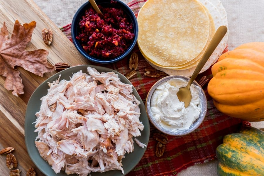 Leftover Turkey Tacos- an easy way to eat up all those leftovers! #atablefullofjoy #leftovers #tacosgiving #turkeytacos #thanksgiving #thanksgivingleftovers #holidayleftovers #tacotuesday #tacos