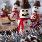A festive Snowman Dessert Truffle that is delicious and cute! #atablefullofjoy #snowman #snowmen #christmas #christmasdessert #holiday
