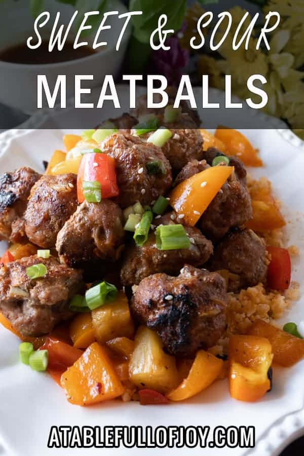 Sweet and Sour Meat Balls, a delicious meatball recipe that will have you making these over and over again! Dairy, Soy, and Gluten free you won't want to miss this tasty healthy dinner! #meatballs #paleo #paleomeatballs #sweetandsour #glutenfree #dairyfree #soyfree #dinner #atablefullofjoy #asian #pork #baked