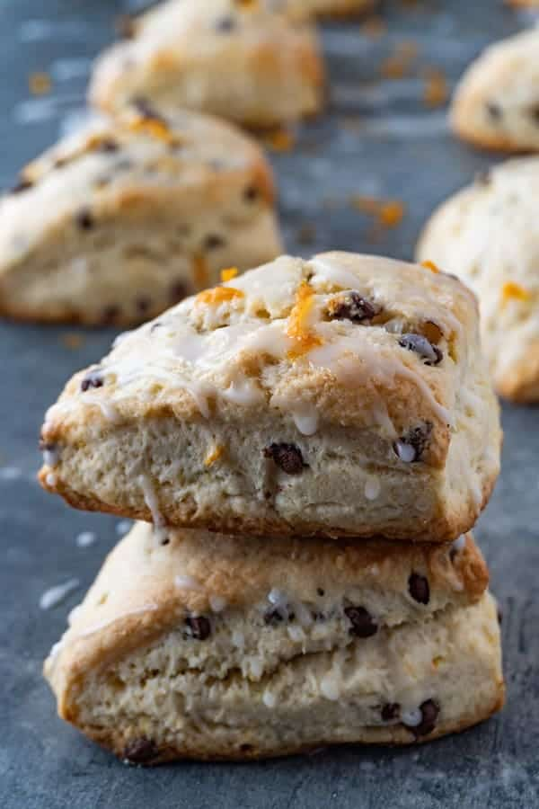 Orange Buttermilk Scones- easy to make and bursting with fresh orange flavor and delicious chocolate chips. These buttermilk scones are THE BEST hands down! #scones #scone #buttermilk #easy #recipe #atablefullofjoy #orange #chocolatechip