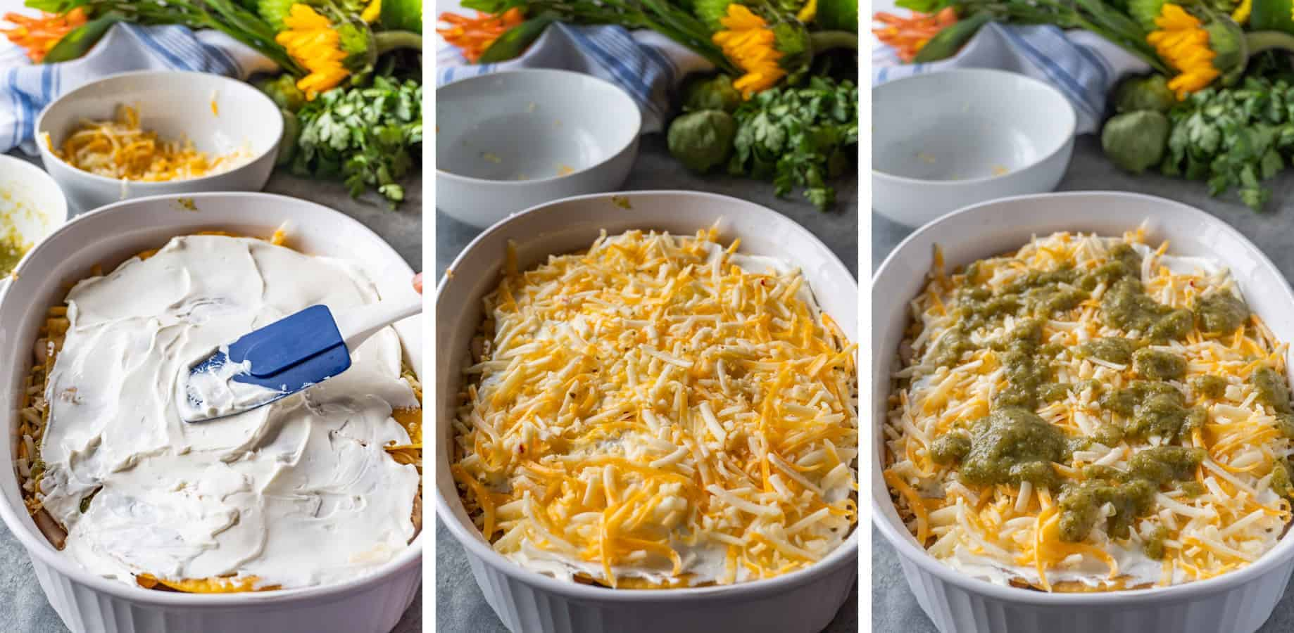 Shredded Chicken Enchiladas, a delicious and easy dinner that can be made in no time! #enchiladas #chicken #rotisserie #atablefullofjoy #leftover #easy #green #corntortillas #cassserole