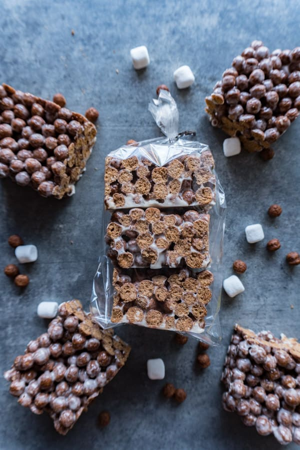 Cocoa Puff Cereal Bars in clear baggie