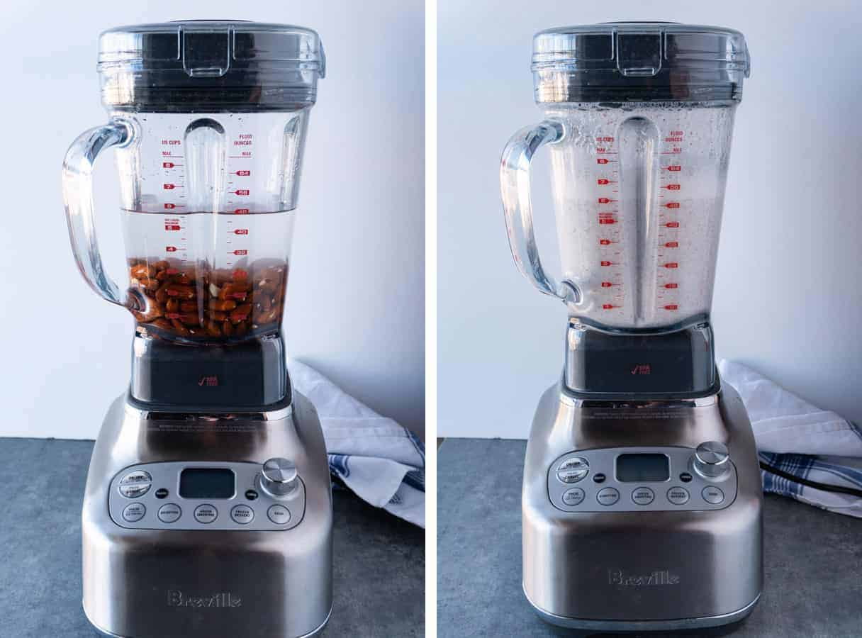 Almonds Before and After Being Blended