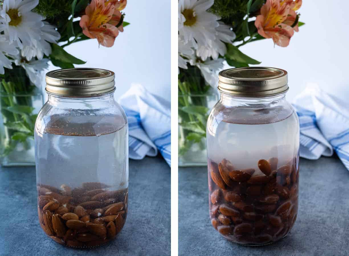 Almonds Before and After Being Soaked