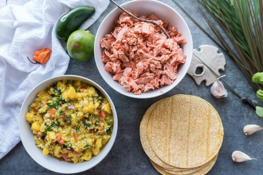 Salmon Mango Taco Ingredients