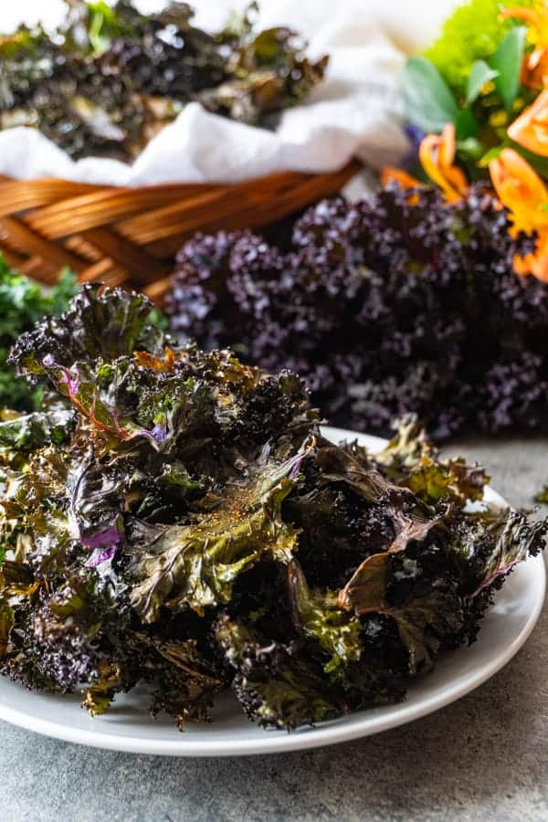 Baked Kale Chips on plate