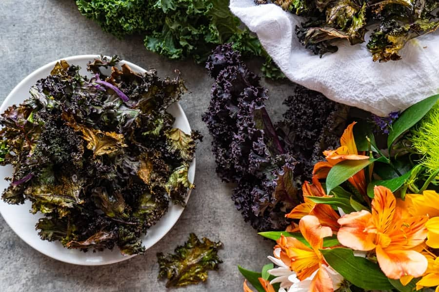 Baked Kale Chips top down vies