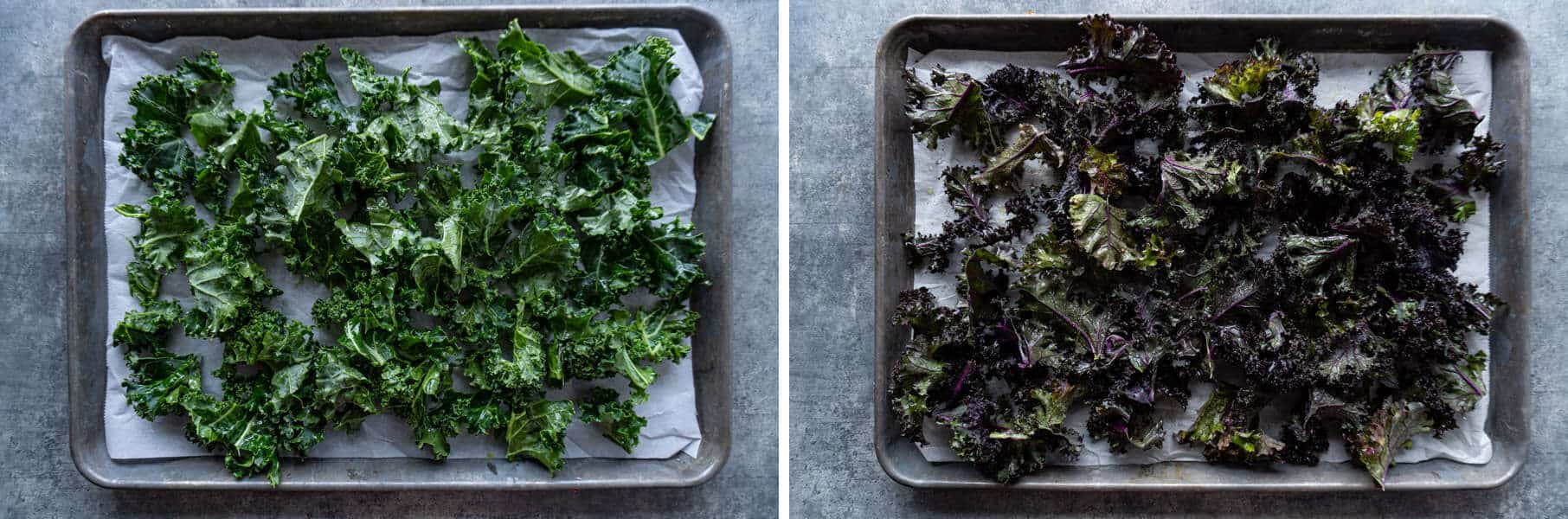 Green and Purple Kale on baking sheet