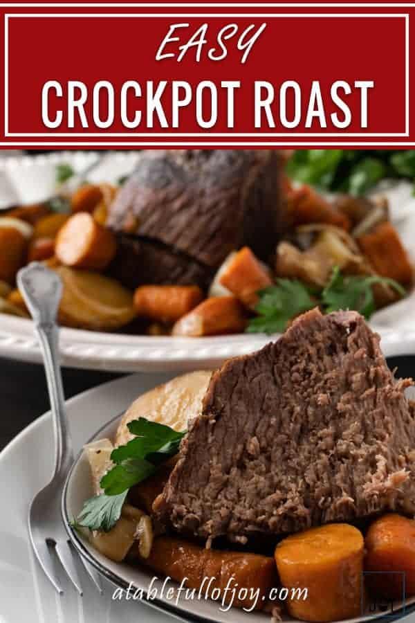 Crock Pot Pot Roast, pinnable image