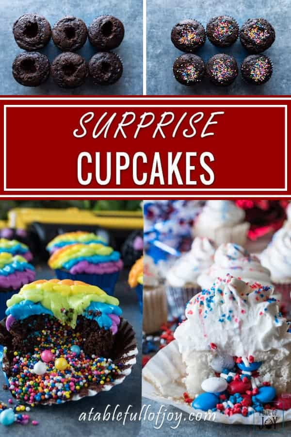 Pinnable image of cupcakes with sprinkles inside