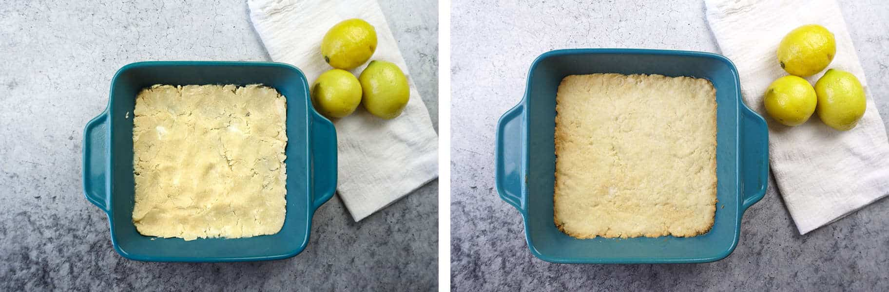 Lemon Bars Crust unbaked and baked side by side