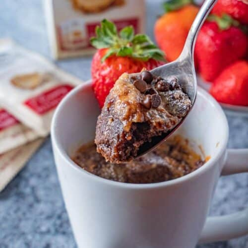 Spoonful of Peanut Butter and Jelly Chocolate Mug Cake