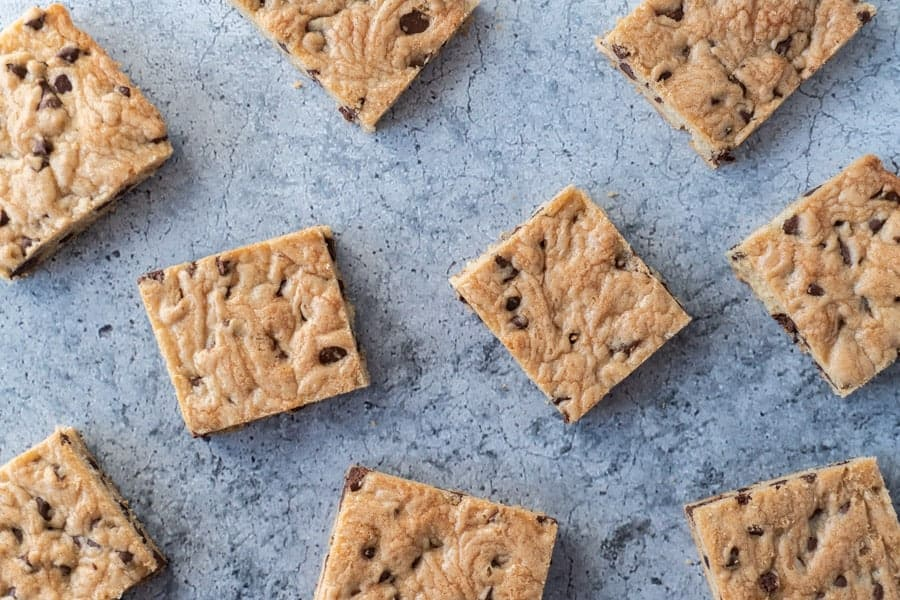 Top down view of Chocolate Chip Cookie Bars