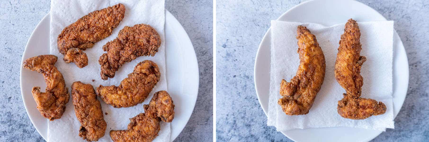 Crispy Chicken Tenders strained vs un-strained fried chicken