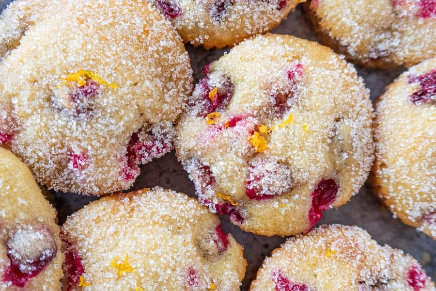 Orange Cranberry Muffins Close up of Sugared Tops