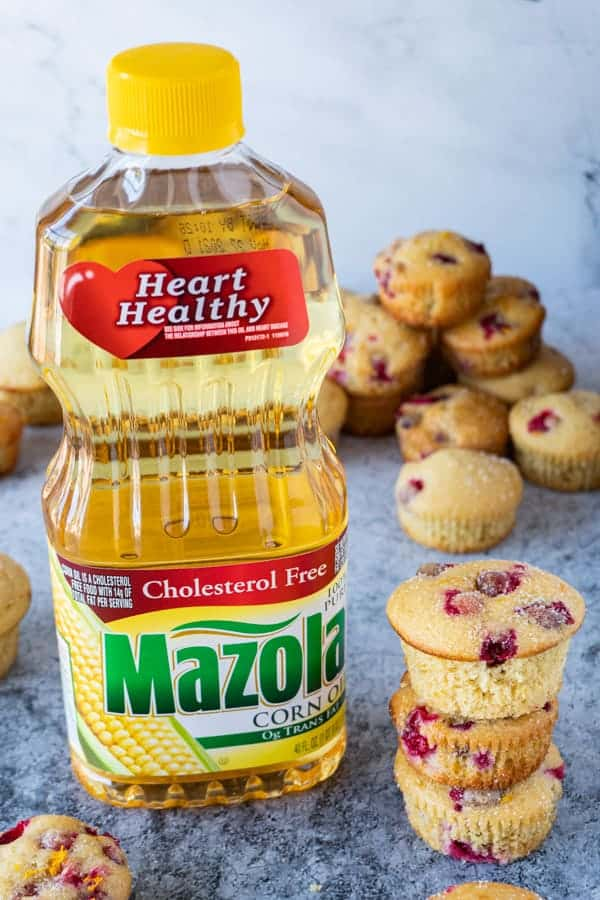Orange Cranberry Muffins with Mazola Corn Oil Bottle