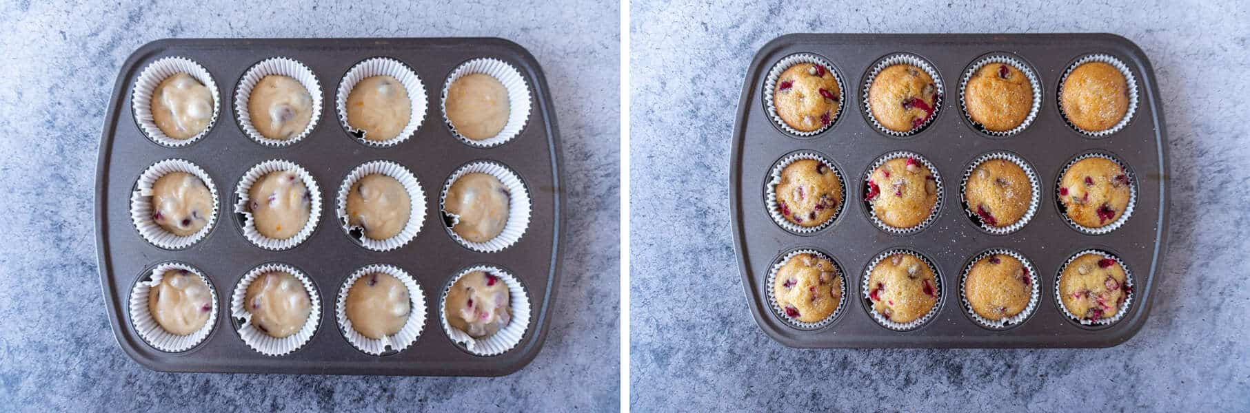 Orange Cranberry Muffins Before and After being Baked