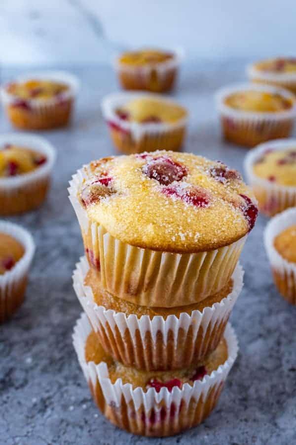 Orange Cranberry Muffins stacked