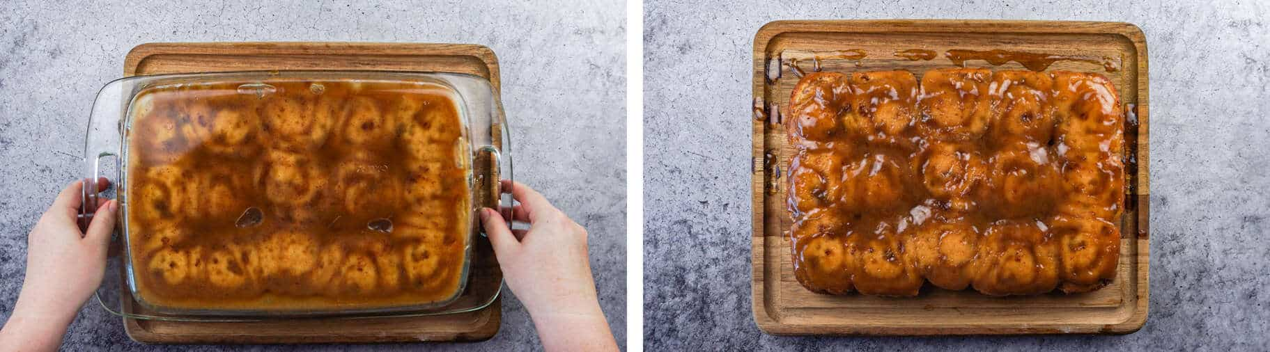Easy Sticky Buns, inverted in baking dish and inverted on cutting board
