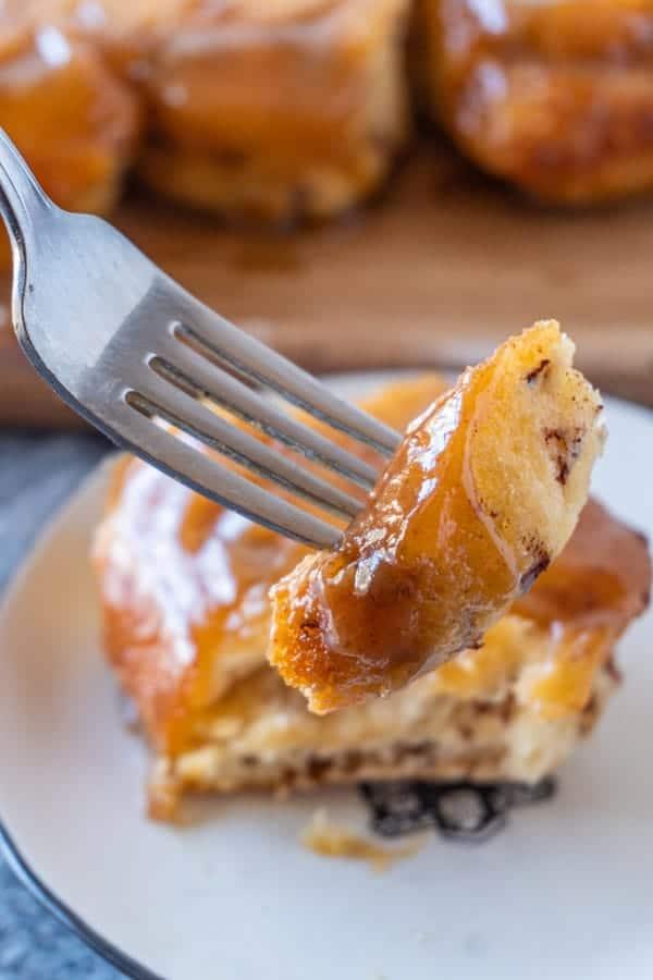 Easy Sticky Buns Recipe, piece of sticky bun on fork