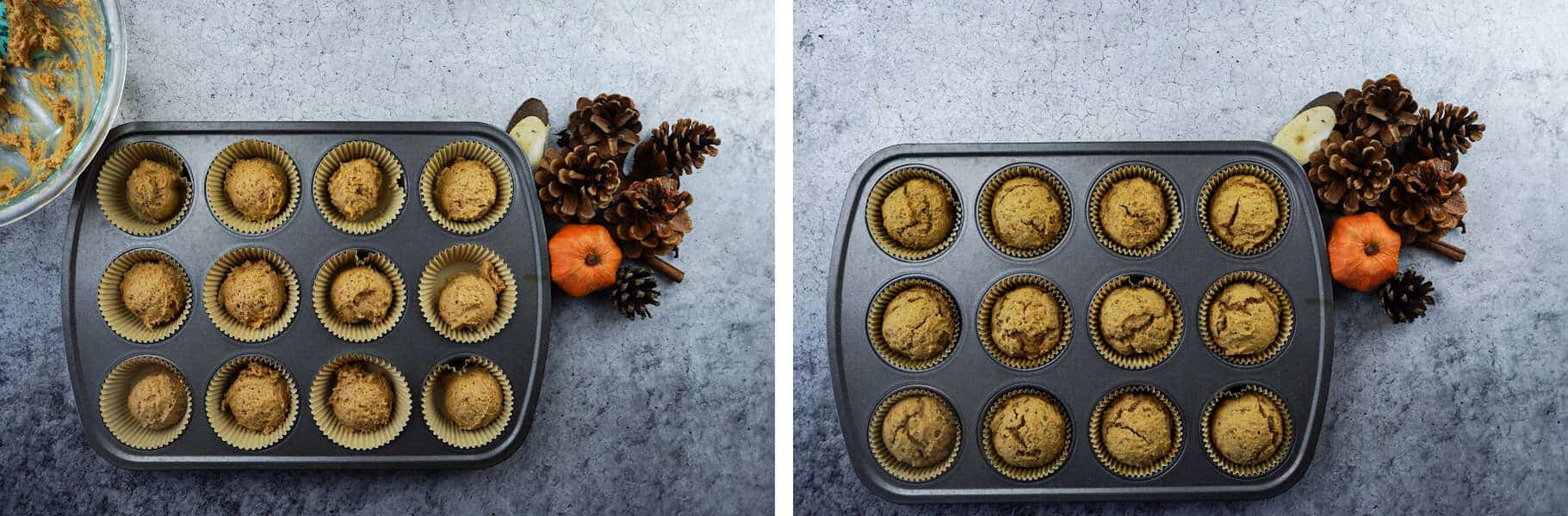 Pumpkin Cupcakes before and after baking in cupcake pan