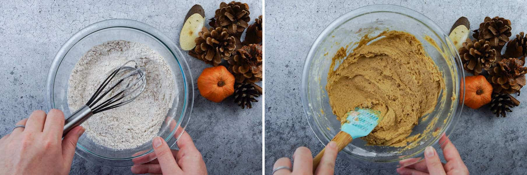 Pumpkin Cupcake flour mixture and batter mixture