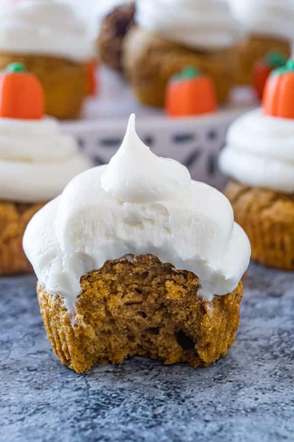 Pumpkin Cupcake with bite taken out