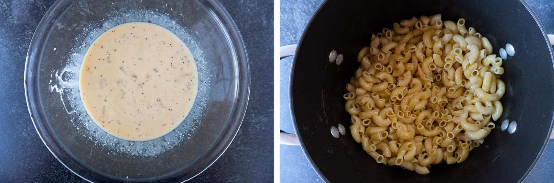 Butter sauce and cooked/buttered noodles
