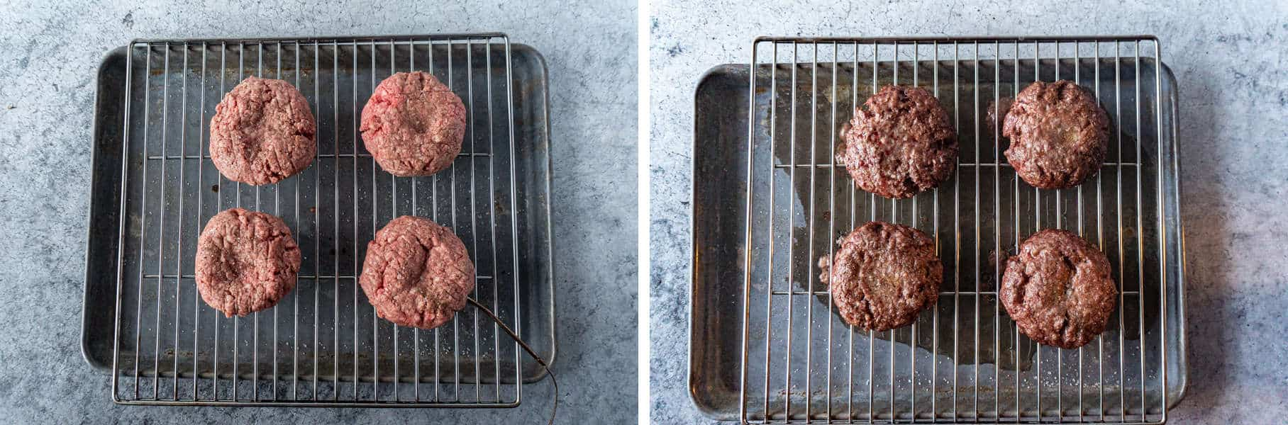 Burger Patties Before and After Baking