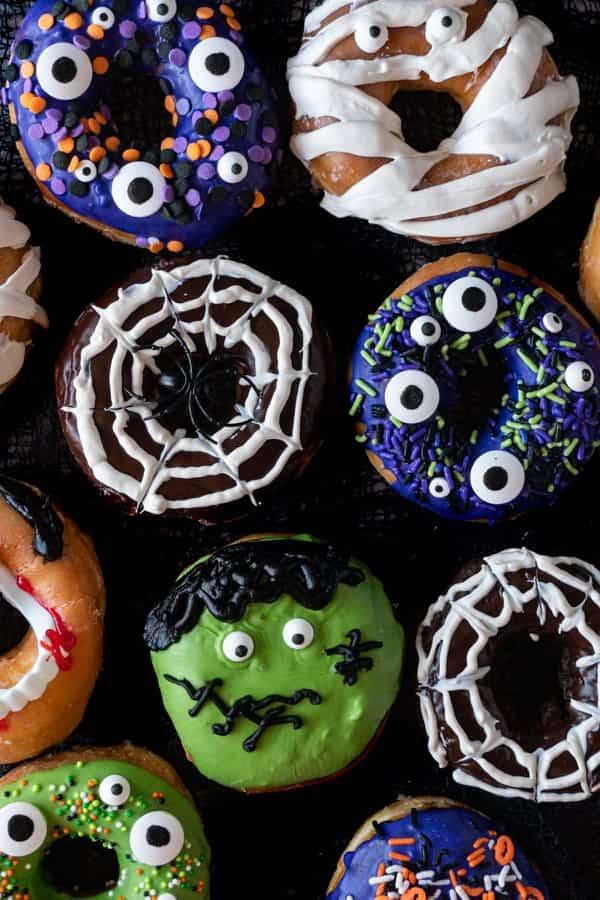 Halloween Donuts flat lay