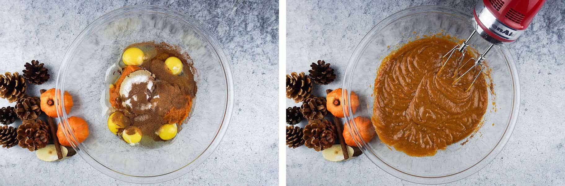 Pumpkin Bread Pudding mixing the liquid