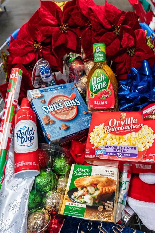 Food and Christmas Items in shopping cart