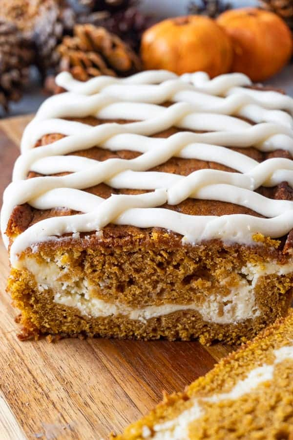 Pumpkin Bread with Cream cheese swil in it