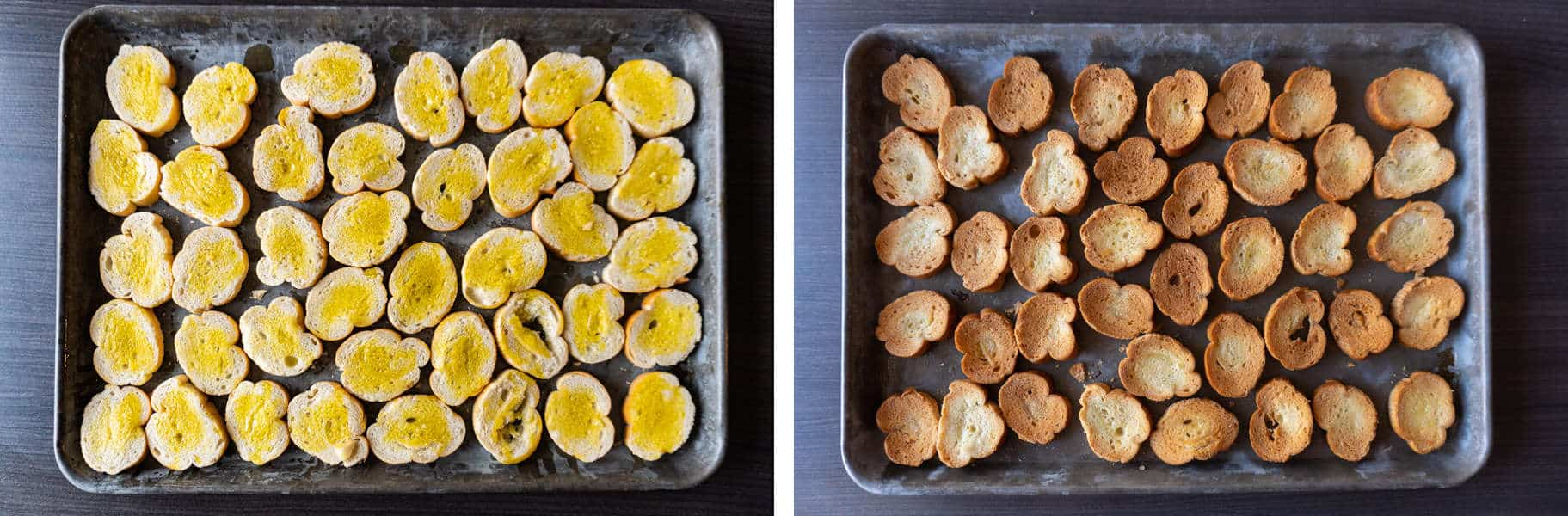 bread pieces before and after toasted