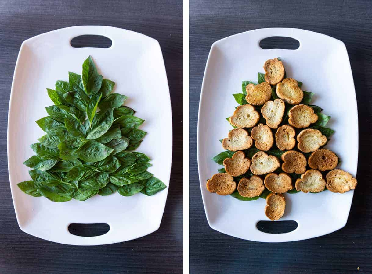 CHristmas Tree Platter - basil in the shape of a tree followed by pieces of bread in the shape of a tree ontop