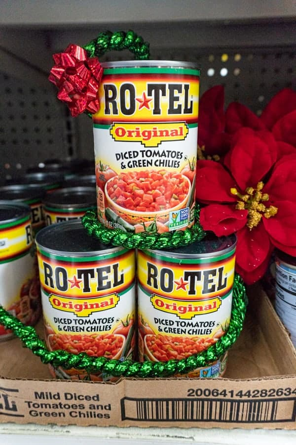 Rotel Can Stacked in Store
