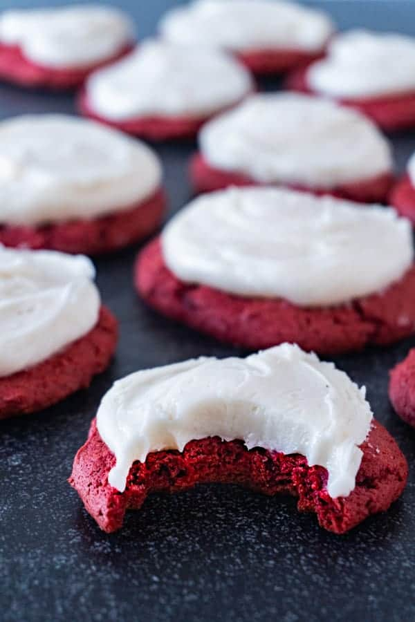 Red Velvet Cookie with bite taken out