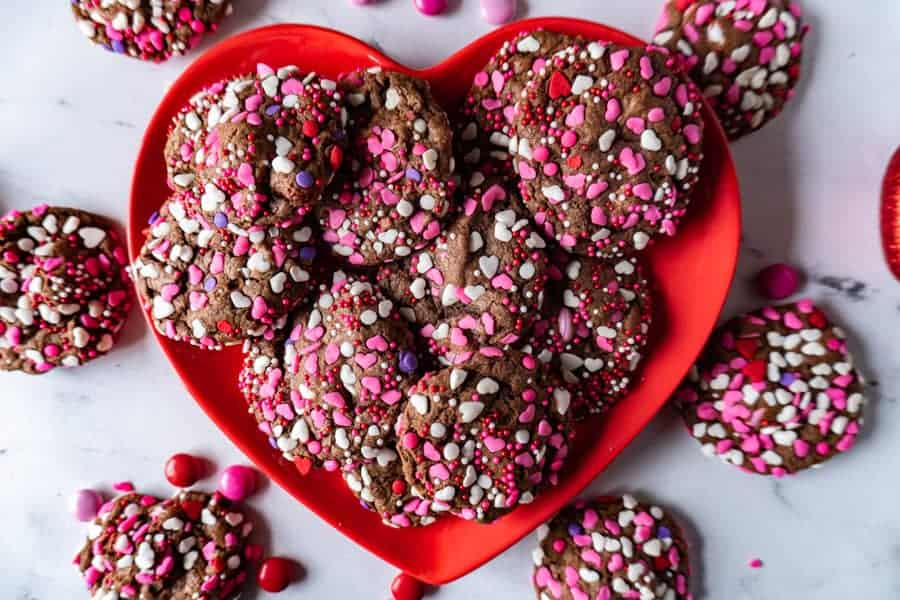 easy chocolate cookies on a heart shaped plate