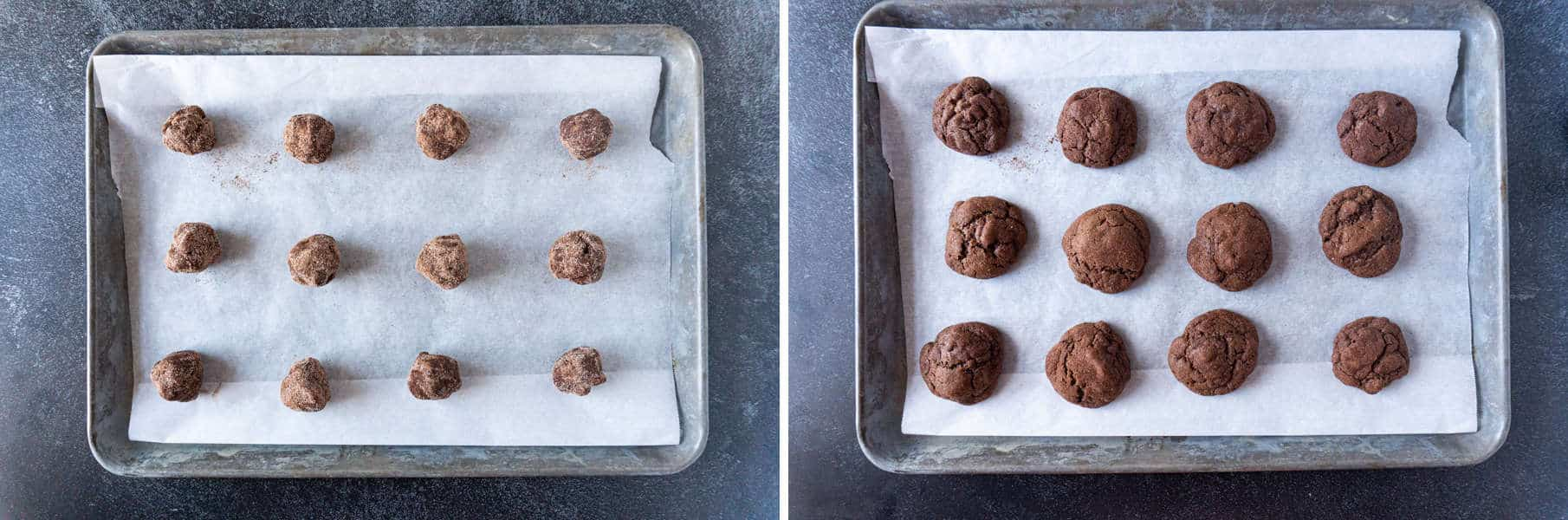 Before and after cookies are baked on cookie sheet
